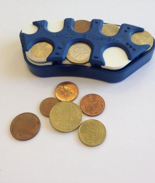 Euro monetų dėžutė su Brailio raštu