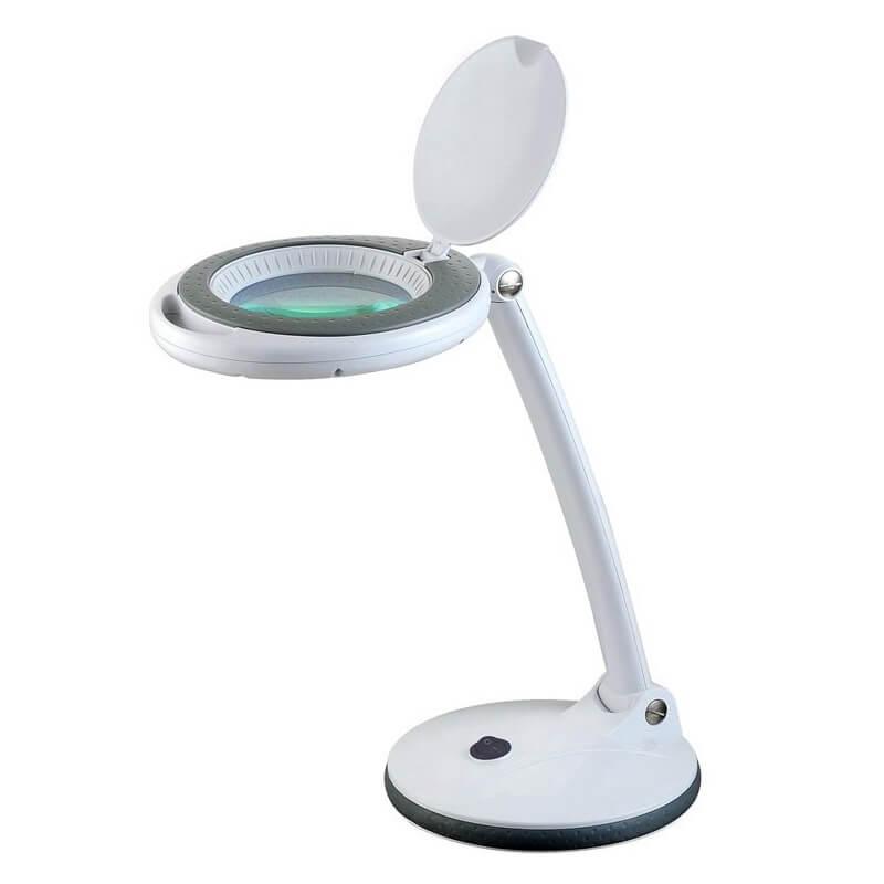 Stalo šviestuvas su LED apšvietimu ir padidinamuoju stiklu
